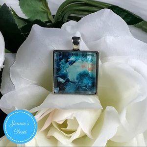 Feeling Blue Glass Cabochon Pendant Necklace